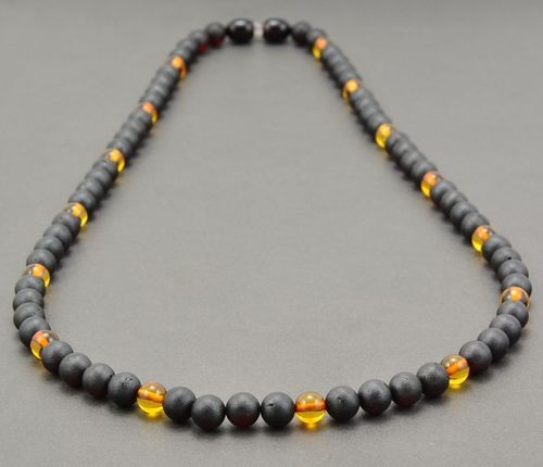 Men's Beaded Necklace Made of Precious Healing Amber