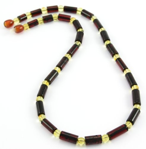 Men's Necklace Made of Cherry and Lemon Amazing Baltic Amber
