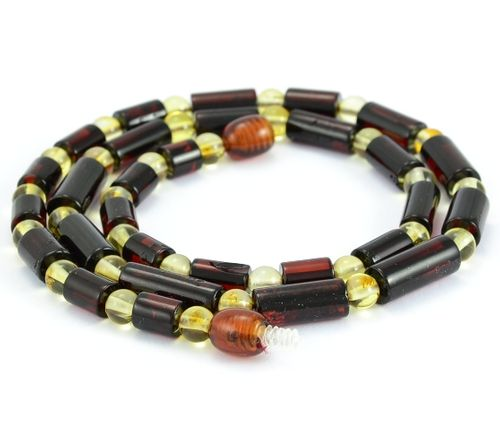Men's Necklace with Cherry and Lemon Healing Amber