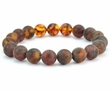 Men's Beaded Bracelet with matte & polished Baltic Amber
