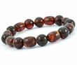 Men's Beaded Bracelet with Dark Cognac Healing Amber