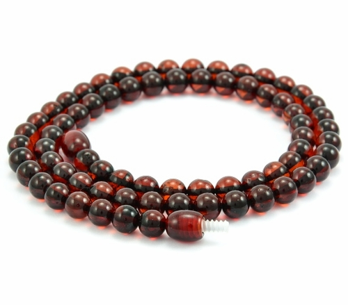 Mens Beaded Necklace with Cherry Healing Amber