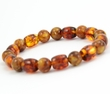 Men's Beaded Bracelet with Tube and Round Shape Healing Amber