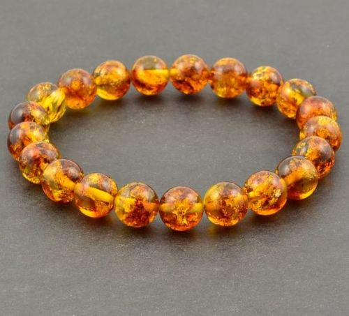 Men's Beaded Bracelet Made of Precious Healing Baltic Amber