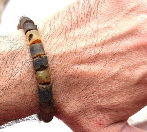 Men's Healing Bracelet Made of Precious Raw Baltic Amber