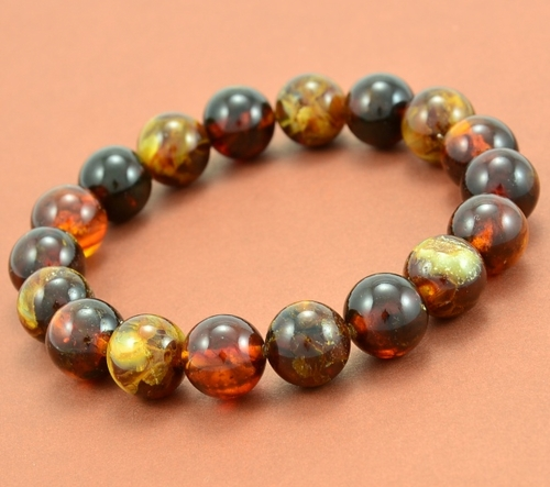 Mens Beaded Bracelet with multicolor Healing Baltic Amber