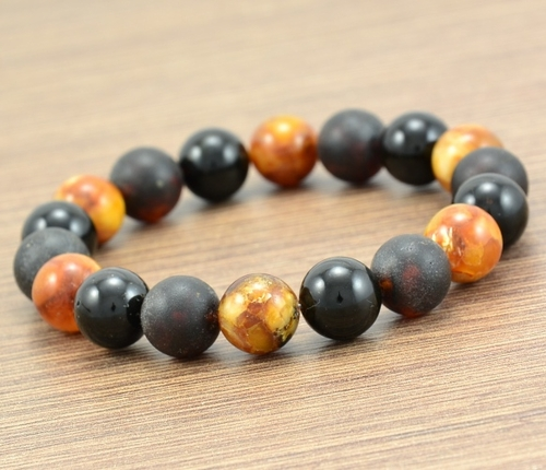 Men's Beaded Bracelet Handmade of Amazing Baltic Amber.