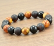 Men's Beaded Bracelet with Matte and Polished Baltic Amber