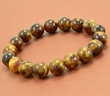 Mens Beaded Bracelet with Marble Baltic Amber