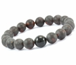 Mens Beaded Bracelet Made of Black Matte Baltic Amber