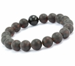 Mens Beaded Bracelet with Black Matte Baltic Amber