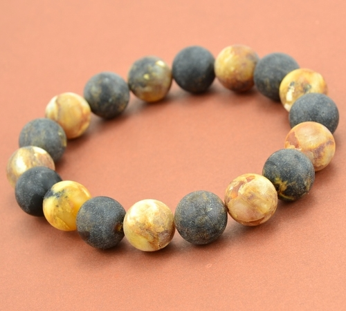 Mens Beaded Bracelet with Matte Baltic Amber