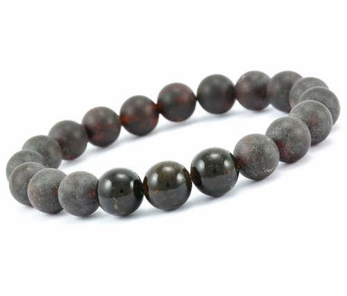 Men's Beaded Bracelet Made of Black Baltic Amber