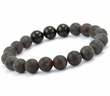 Men's Beaded Bracelet with Black Baltic Amber