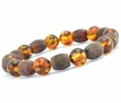 Mens Beaded Bracelet with Healing Baltic Amber