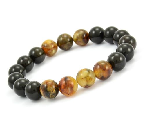 Men's Beaded Bracelet with Polished Healing Amber