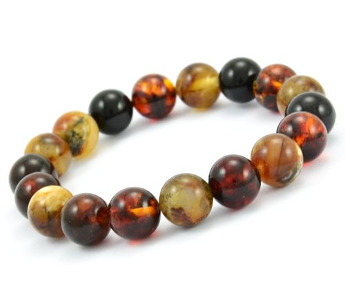 Men's Beaded Bracelet with Multicolor Healing Amber