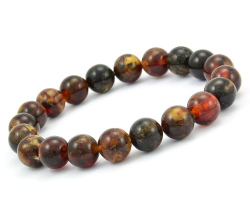Men's Beaded Bracelet Made of Healing Baltic Amber