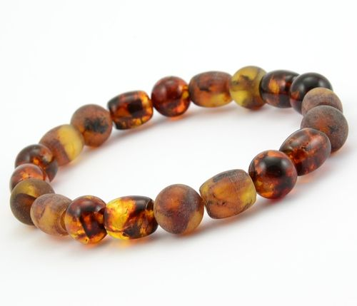 Mens Beaded Bracelet Made of Healing Baltic Amber