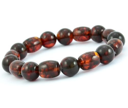 Men's Beaded Bracelet Made of Dark Cognac Amazing Baltic Amber