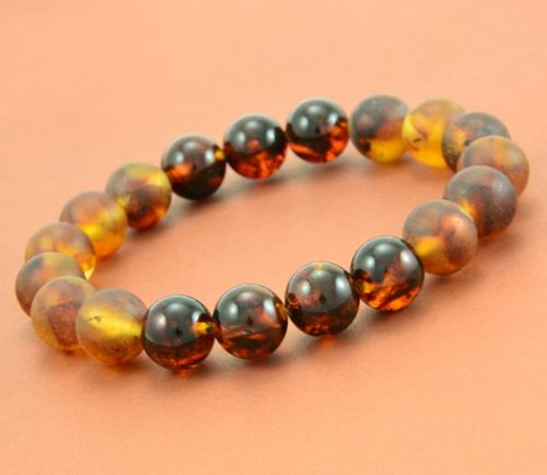Men's Beaded Bracelet Made of Matte and Polished Amazing Amber