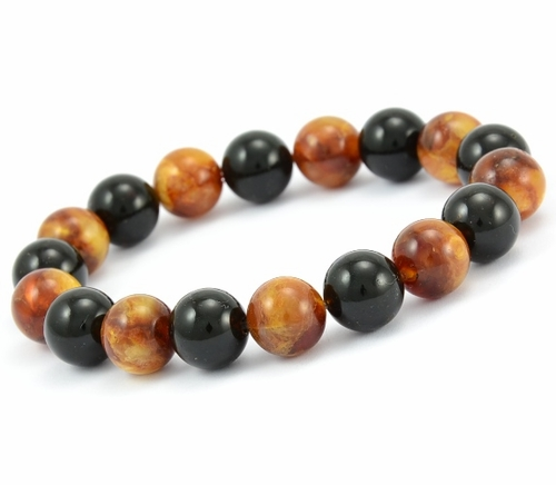 Mens Beaded Bracelet with Black and Marble Baltic Amber