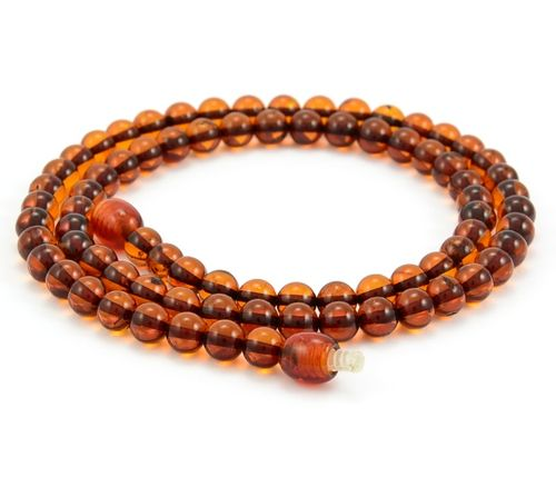 Men's Beaded Necklace with Healing Cognac Amber