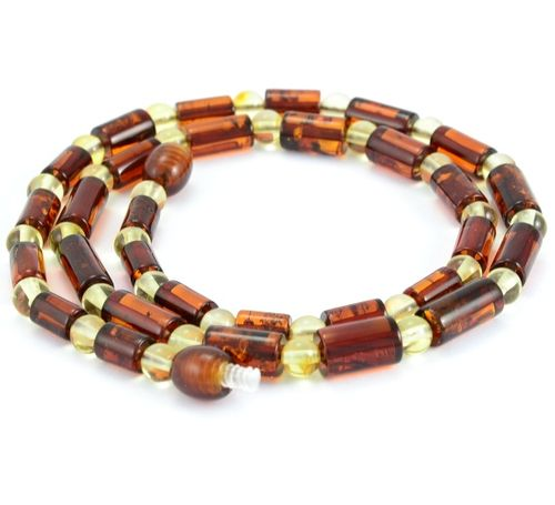 Men's Necklace with Cognac and Lemon healing Amber