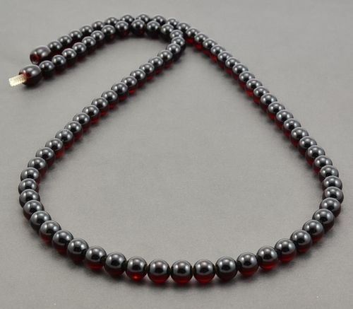 Men's Black Beaded Necklace Made of Baltic Amber