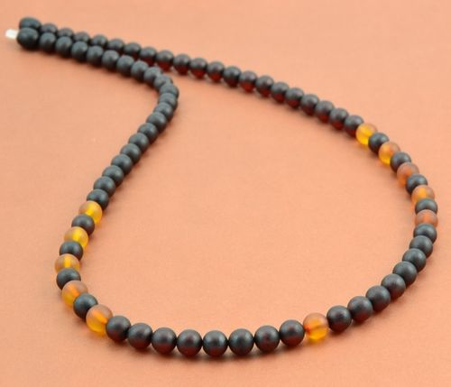 Men's Beaded Necklace with Matte Amazing Baltic Amber