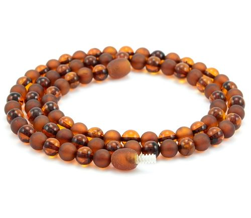Mens Beaded Necklace Made of Matte and Polished Baltic Amber