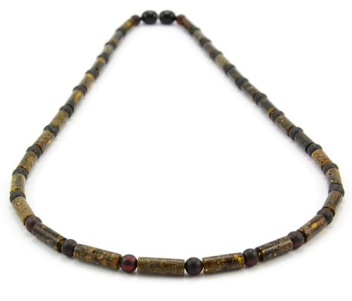 Men's Beaded Necklace Made of Amazing Dark Baltic Amber