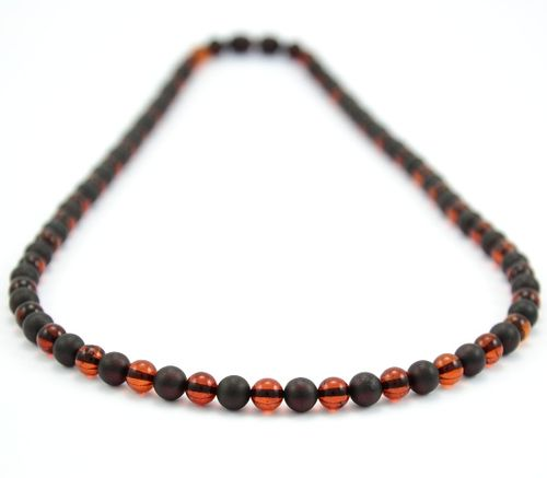 Men's Beaded Necklace with Matte and Polished Healing Amber