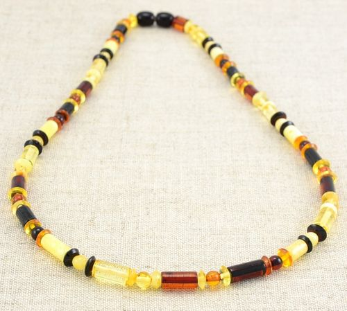 Men's Necklace with Multicolor Baltic Amber