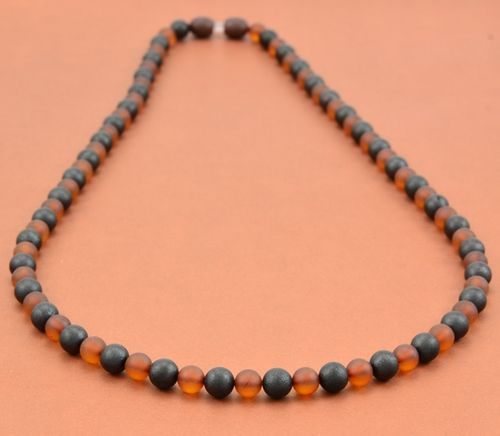 Men's Beaded Necklace with Matte Healing Amber
