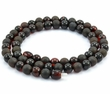 Men's Beaded Necklace with Black Baltic Amber