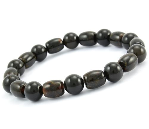 Men's Black Beaded Bracelet Made of Precious Healing Amber