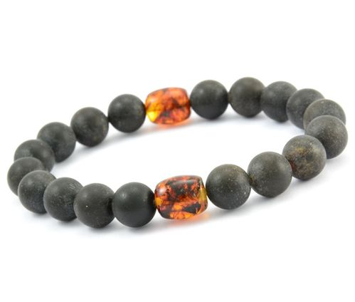 Men's Beaded Bracelet Made of Black and Cognac Healing Amber