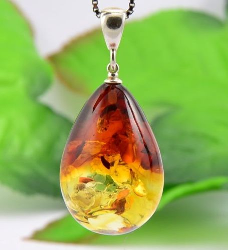 Large Amber Pendant Made of Precious Healing Baltic Amber