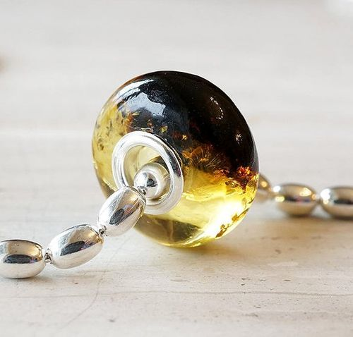 Pandora Style Charm Bead Made of Precious Baltic Amber