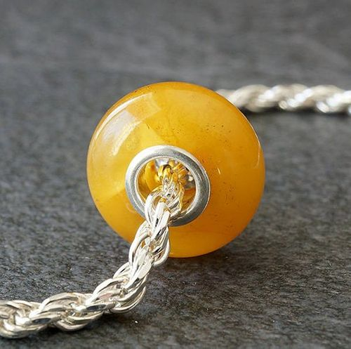Amber Pandora Style Charm Bead Made of Precious Baltic Amber