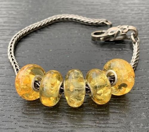 Set of 5 Amber Pandora Style Charm Beads - SOLD OUT