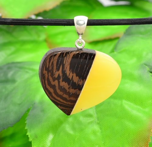 Pendant Made of Wood and Baltic Amber