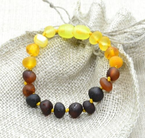 Raw Amber Teething  Bracelet Made from Multicolor Amber