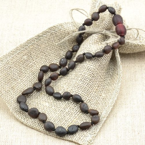 Raw Amber Teething Necklace Made of Black Baltic Amber