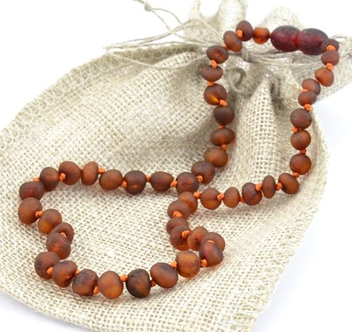 Amber Teething Necklace of Matte Baltic Amber