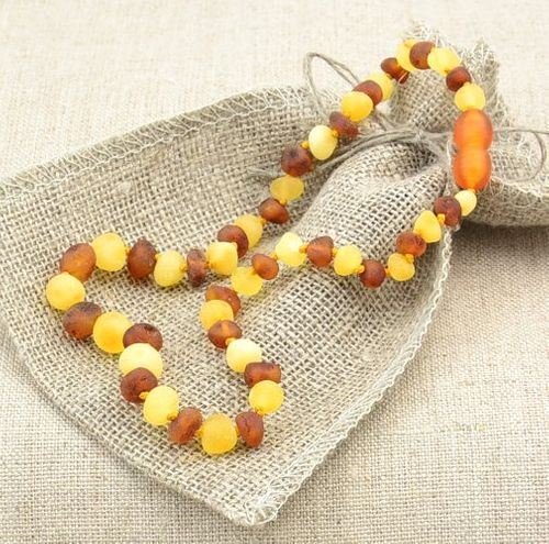 Raw Amber Teething Necklace with Lemon and Cognac Amber