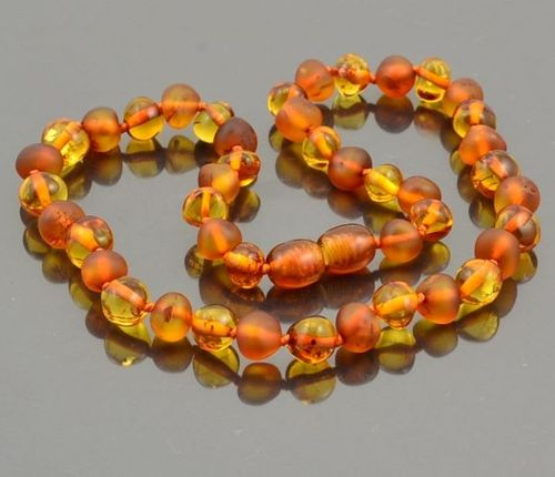 Amber Necklace Made of Matte and Polished Baltic Amber