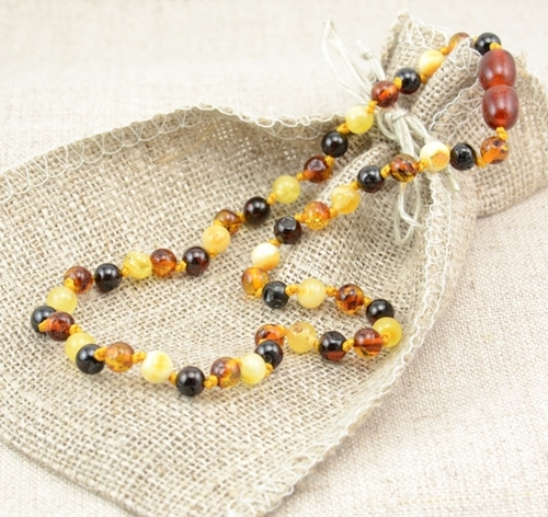 Teething Amber Necklace with Multicolor Baltic Amber