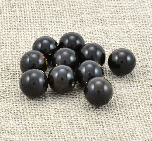 Lot of 10 Perfectly Round Black Baltic Amber Beads